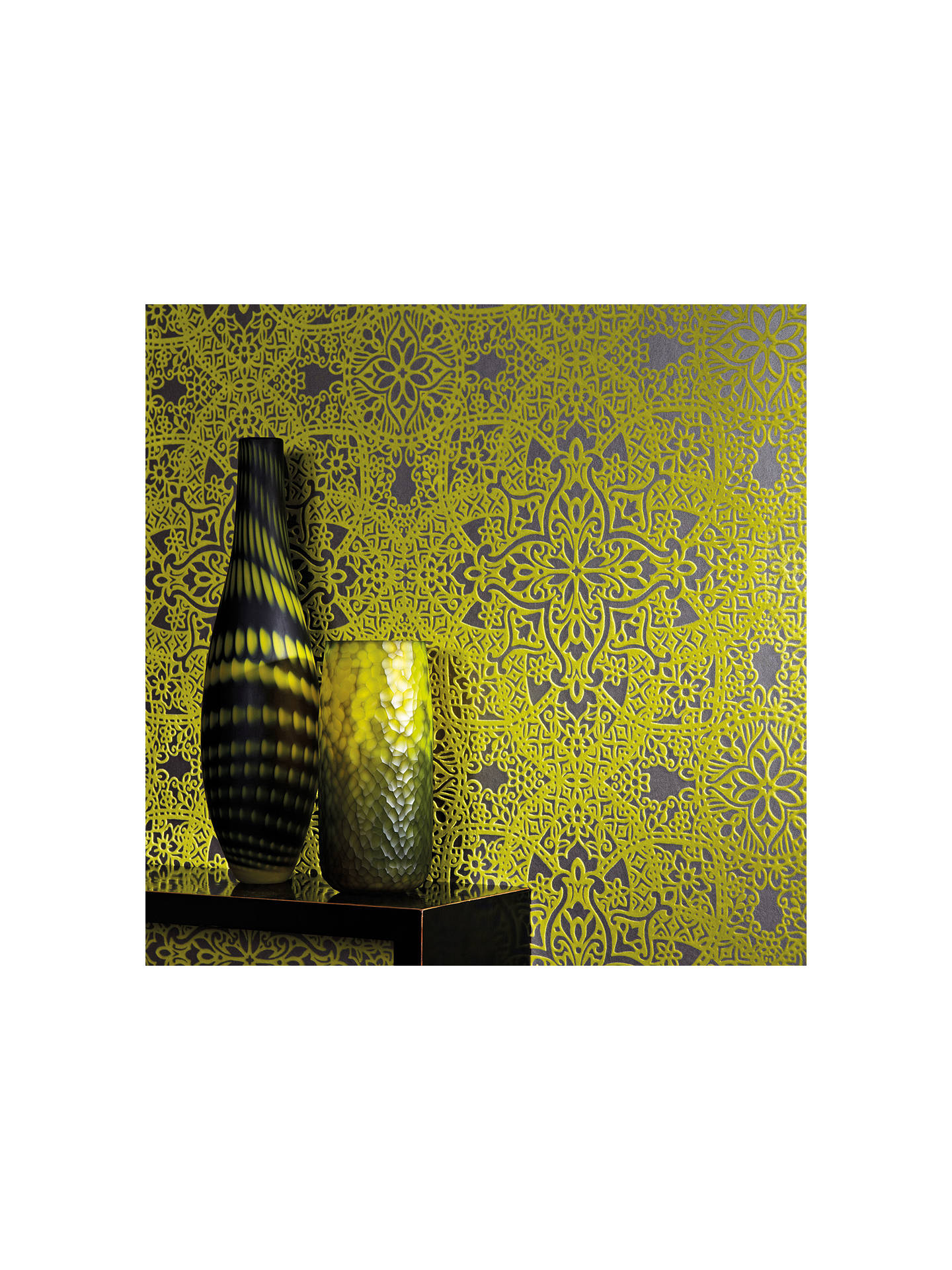 Buy Byzantine Black Edition Byzantine Flock Paste the Wall Wallpaper, W364/04 Online at johnlewis.com