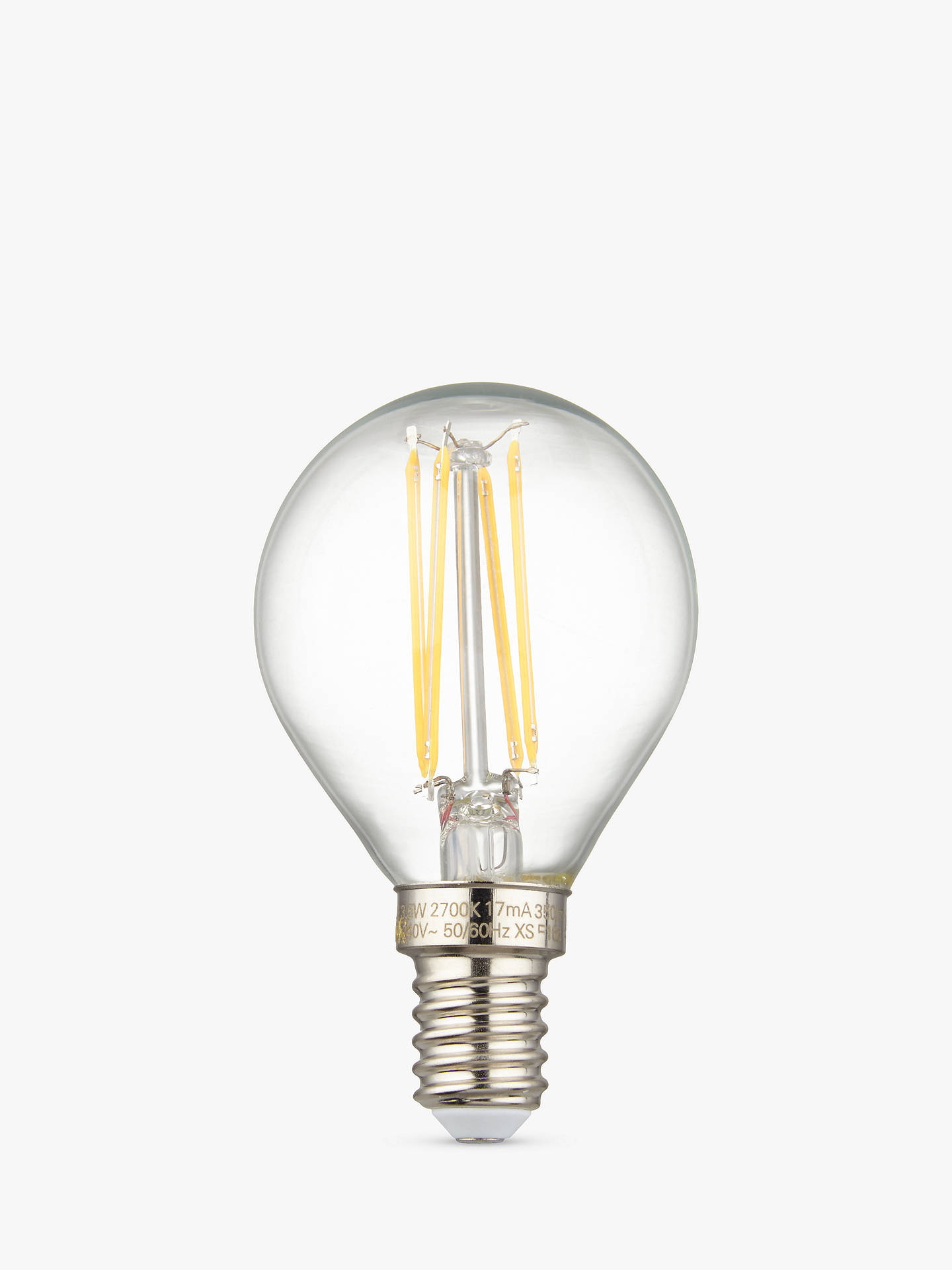 BuyCalex 3.5W SES LED Filament Golf Ball Bulb, Clear Online at johnlewis.com