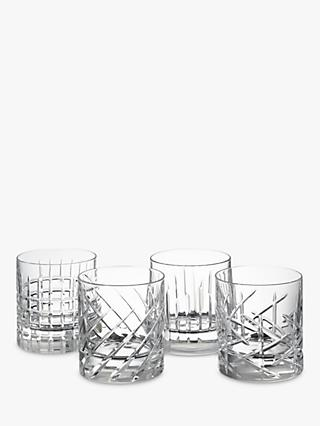 John Lewis & Partners Pavo Cut Crystal Glass Tumblers, 290ml, Assorted, Set of 4