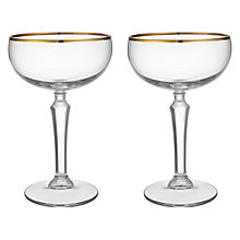 Buy Social by Jason Atherton Coupe Glasses With Gold Band, Set of 2 Online at johnlewis.com