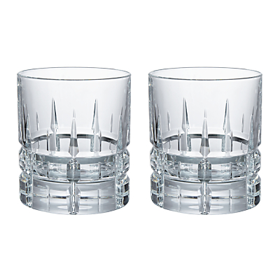 Social by Jason Atherton Handcut Cut Crystal Glass Double Old Fashioned Tumbler, 300ml, Set of 2