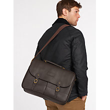 Buy Barbour Leather Briefcase, Dark Brown Online at johnlewis.com