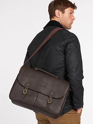 Barbour Leather Briefcase, Dark Brown