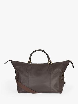 Barbour Leather Explorer Holdall, Chocolate