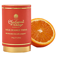 Buy Charbonnel et Walker Milk Orange Thins, 195g Online at johnlewis.com