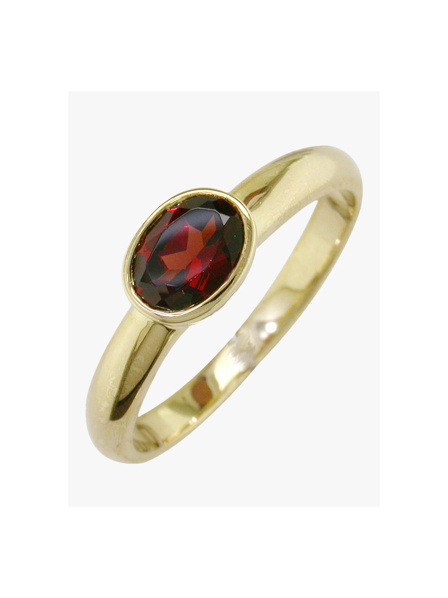 BuyEWA 9ct Gold Rub Over Oval Ring, N, Garnet Online at johnlewis.com