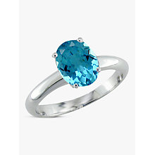 Buy EWA 9ct Gold Oval Ring, Blue Topaz Online at johnlewis.com