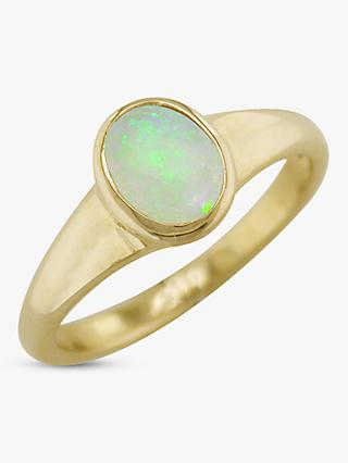 E.W Adams 9ct Yellow Gold Oval Ring, Opal