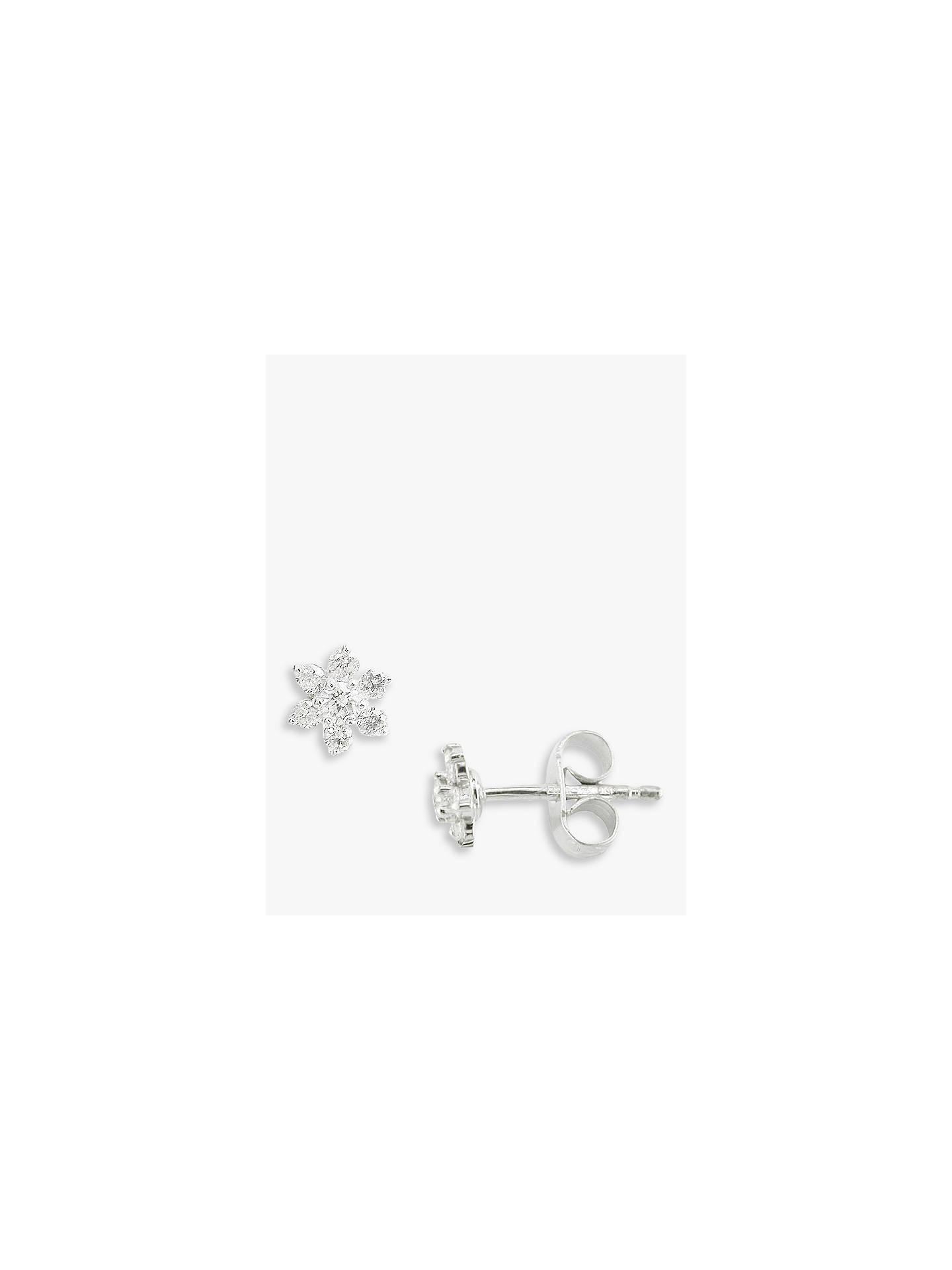 Ewa 18ct White Gold Diamond Flower Cluster Stud Earrings White Gold