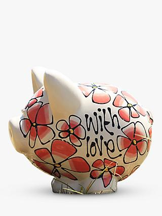 Gallery Thea Coral Pansy and Summer Flowers Piggy Bank