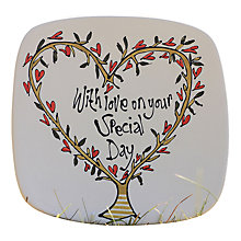 Buy Gallery Thea Personalised Heart Tree Square Plate, Medium Online at johnlewis.com