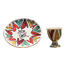 Buy Gallery Thea Personalised Traditional Hearts Egg Cup and Plate Online at johnlewis.com