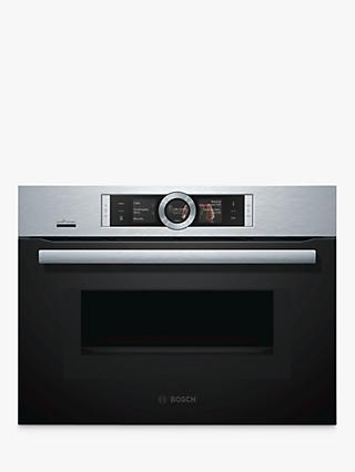 Bosch CMG676BS6B Built-In Combination Microwave Single Oven with Home Connect, Brushed Steel