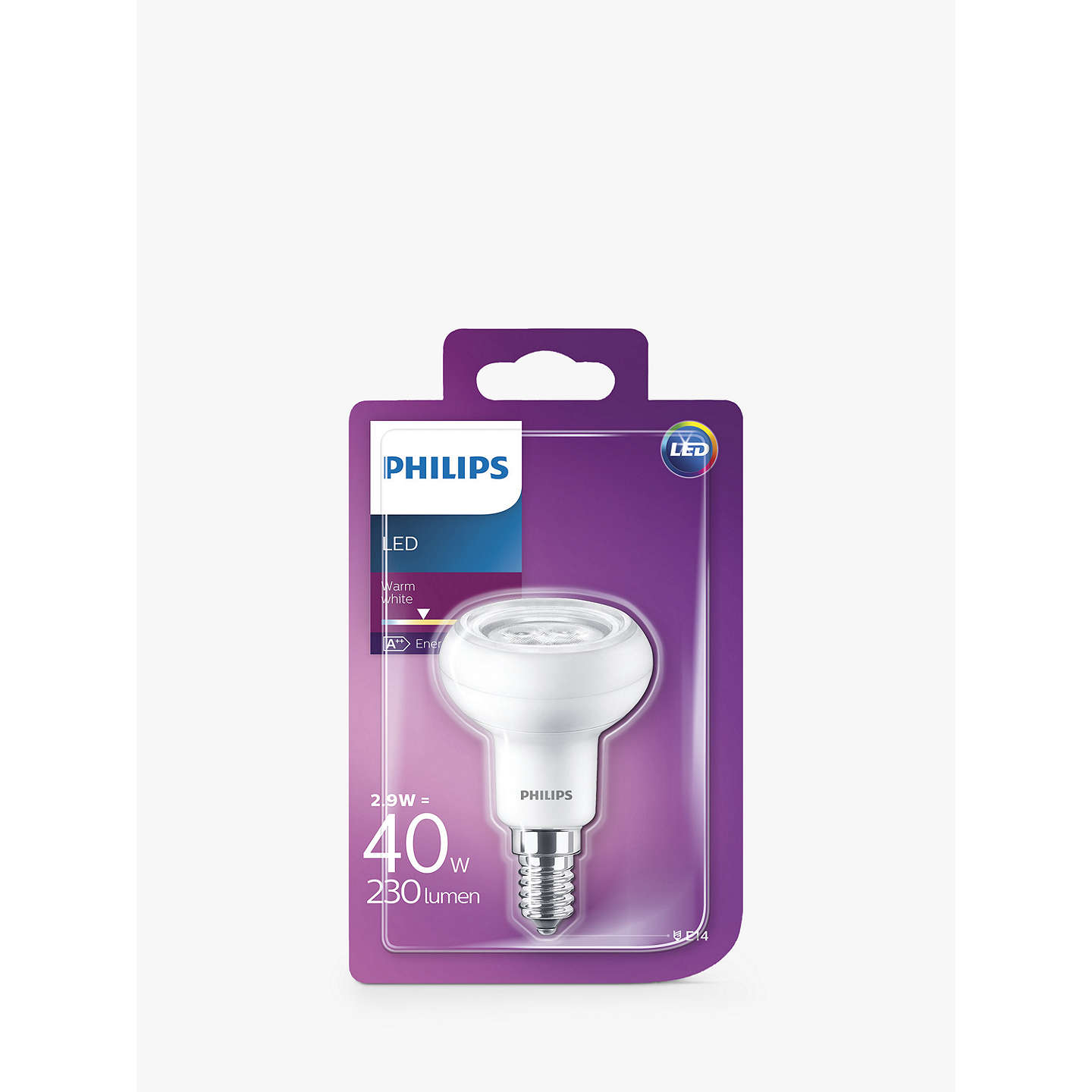 BuyPhilips LED 2.9W SES LED Reflector R50 Light Bulb Online at johnlewis.com