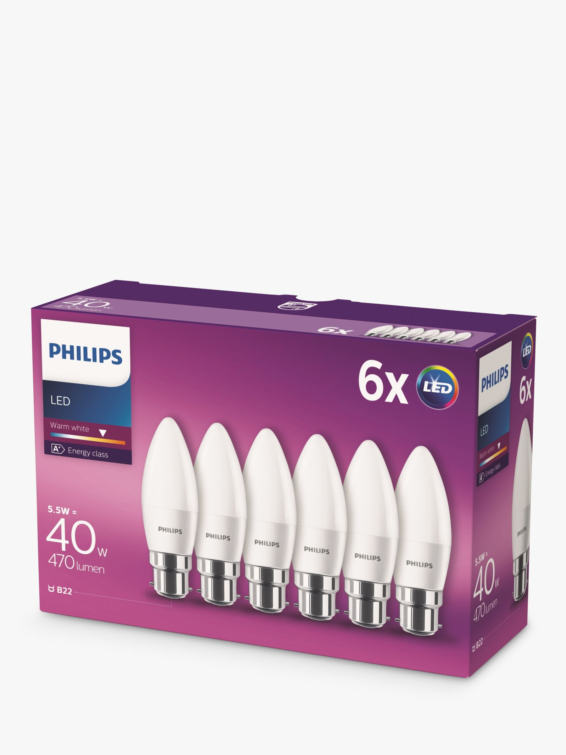Philips 5.5W BC Candle LED Light Bulb, Frosted, Pack of 6