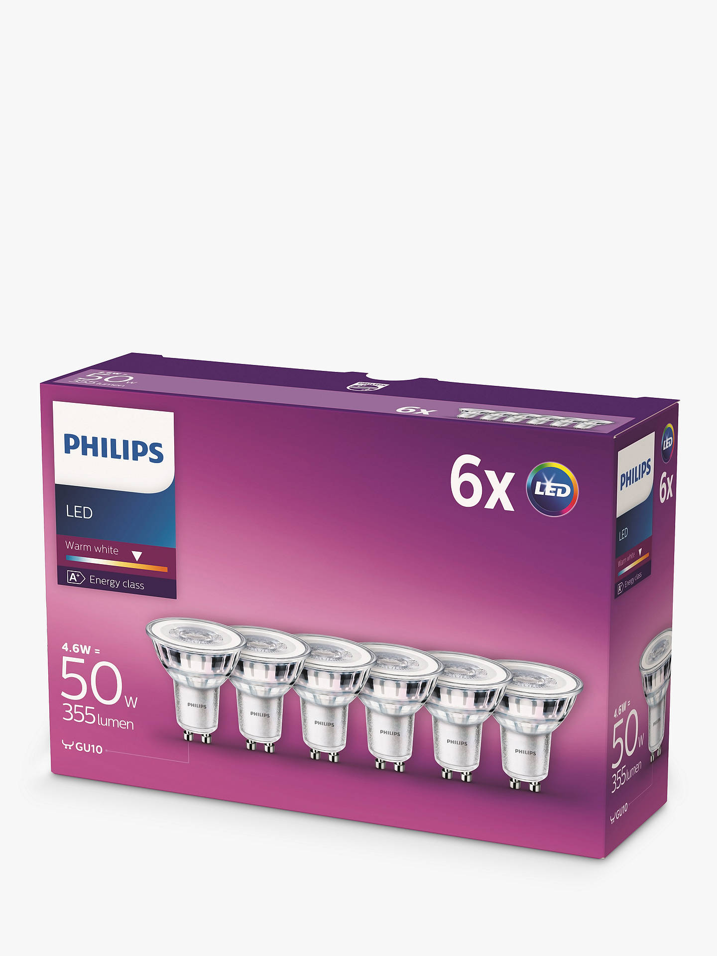 BuyPhilips 4.6W GU10 LED Bulb, Pack of 6 Online at johnlewis.com
