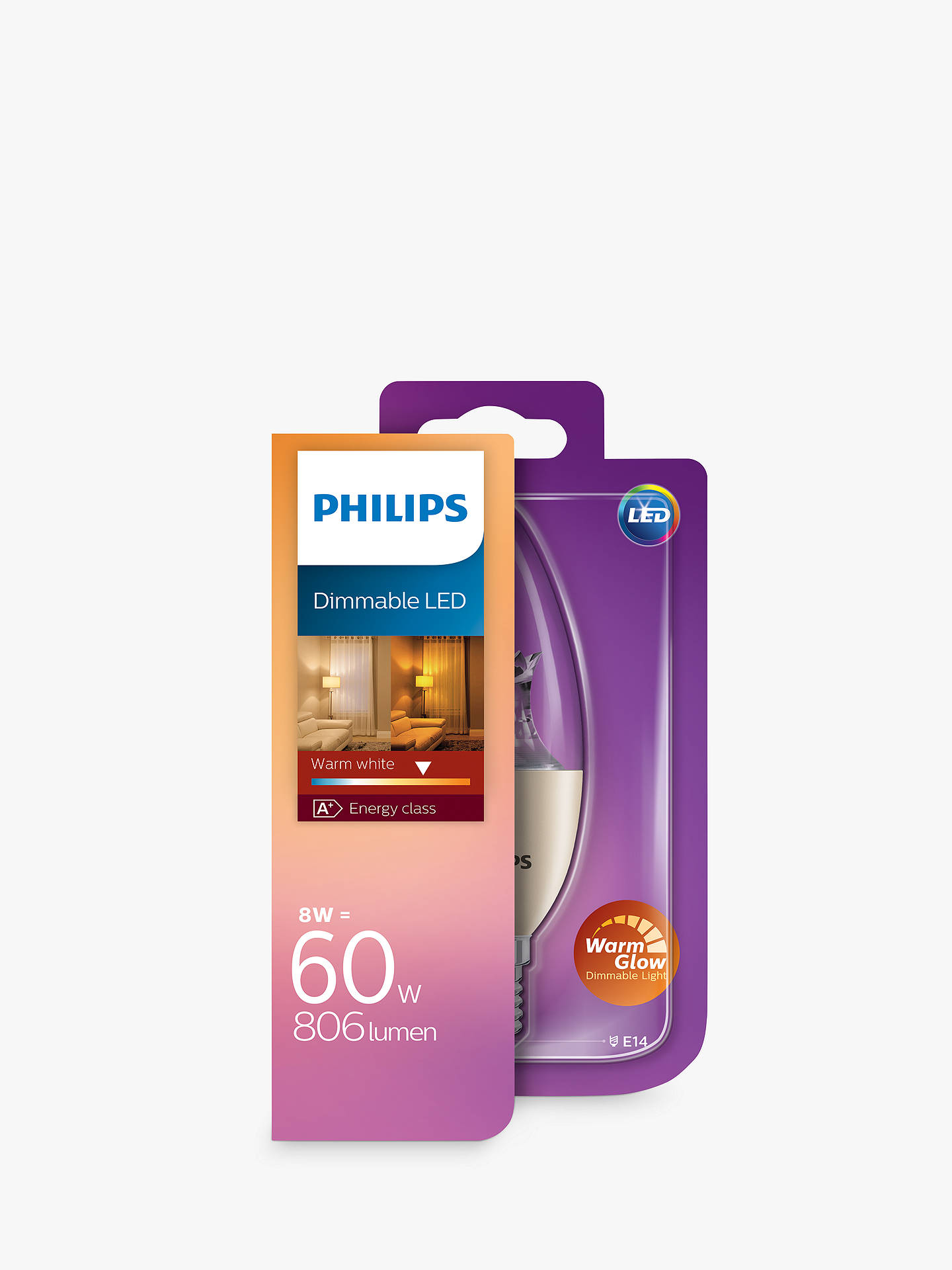Buy Philips 8W SES LED Dimmable Warm Glow Candle Bulb, Clear Online at johnlewis.com