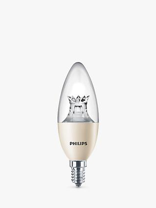 Philips 8W SES LED Dimmable Warm Glow Candle Bulb, Clear