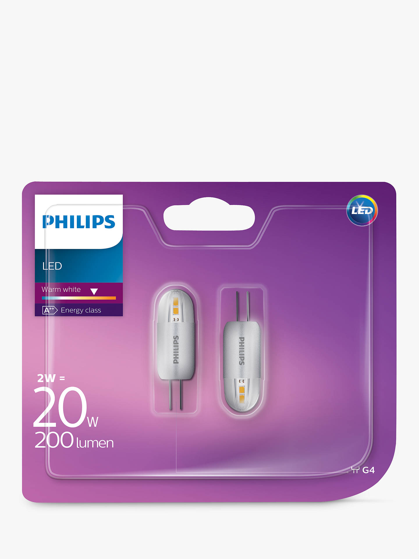 Buy Philips 2W G4 LED Capsule Bulb, Pack of 2, Clear Online at johnlewis.com