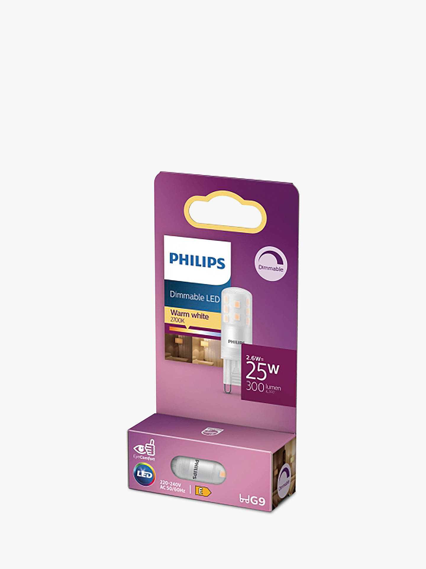 Bra Philips 2.5W G9 LED Dimmable Capsule Bulb, Clear at John Lewis JS-36