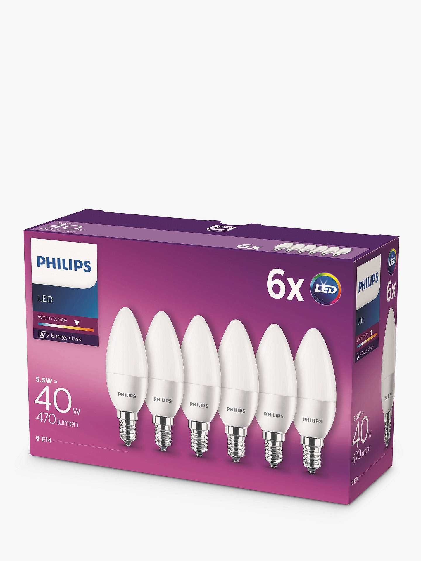 BuyPhilips 5.5W SES LED Candle Bulb, Pack of 6, Frosted Online at johnlewis.com