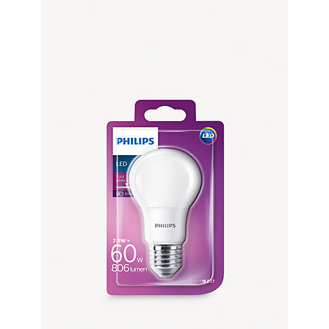 buy philips 7 5w es led classic cool white light bulb frosted 4000k john lewis. Black Bedroom Furniture Sets. Home Design Ideas