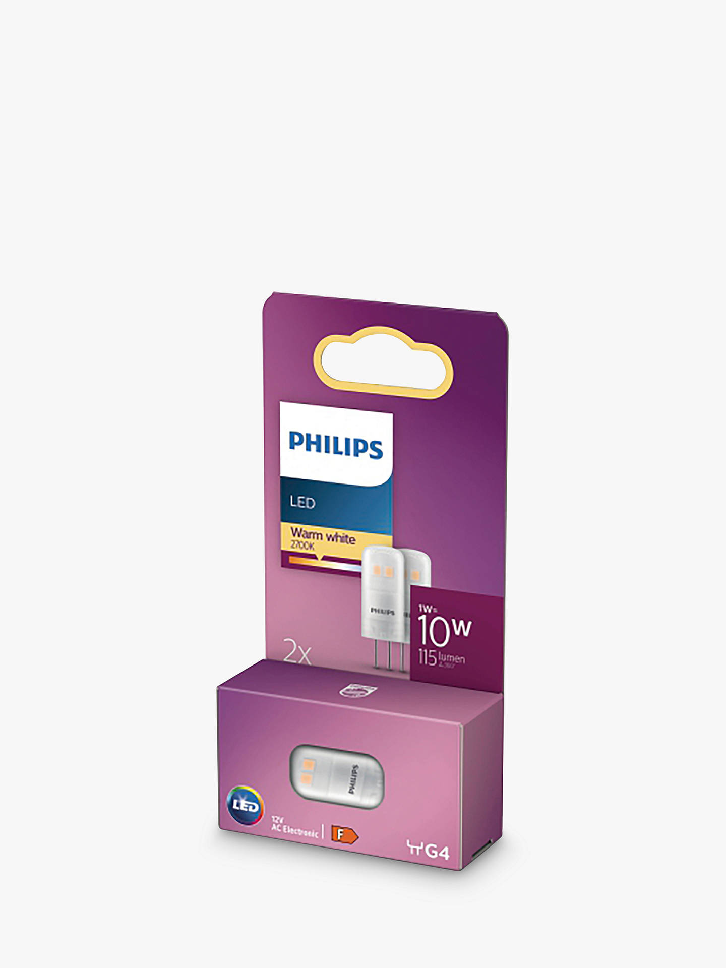 BuyPhilips 1.2W G4 LED Capsule Bulb, Pack of 2, Clear Online at johnlewis.com