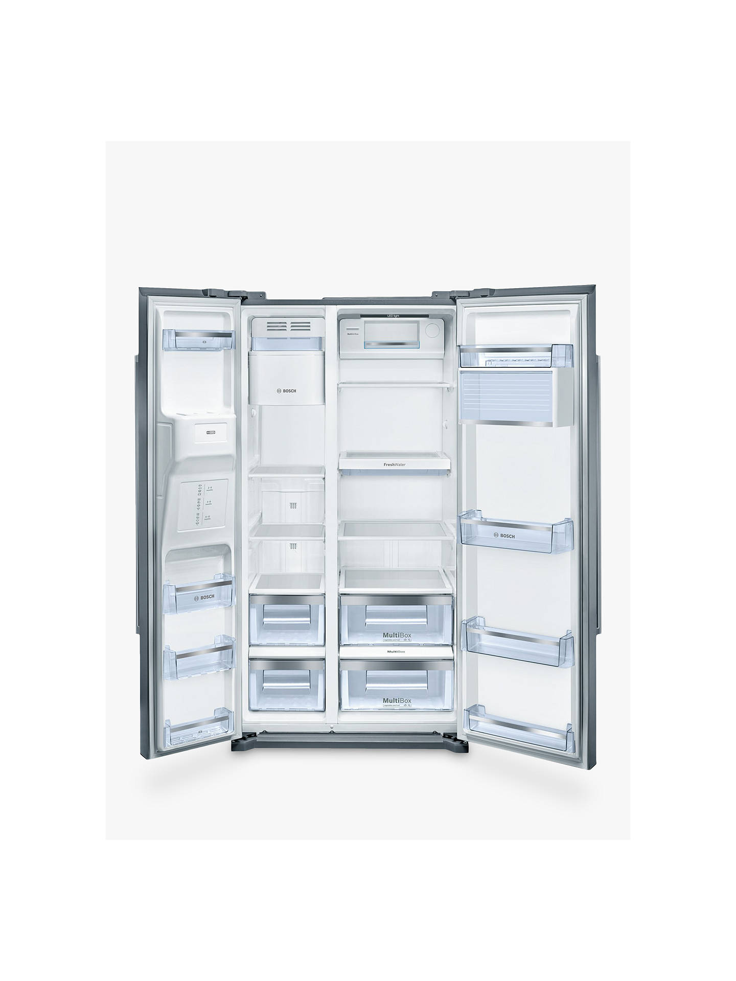 BuyBosch KAI90VI20G American Style Fridge Freezer, A+ Energy Rating, Stainless Steel Online at johnlewis.com