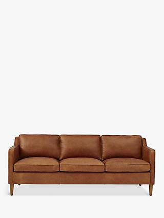 Hamilton Range, west elm Hamilton Large 3 Seater Leather Sofa, Sienna