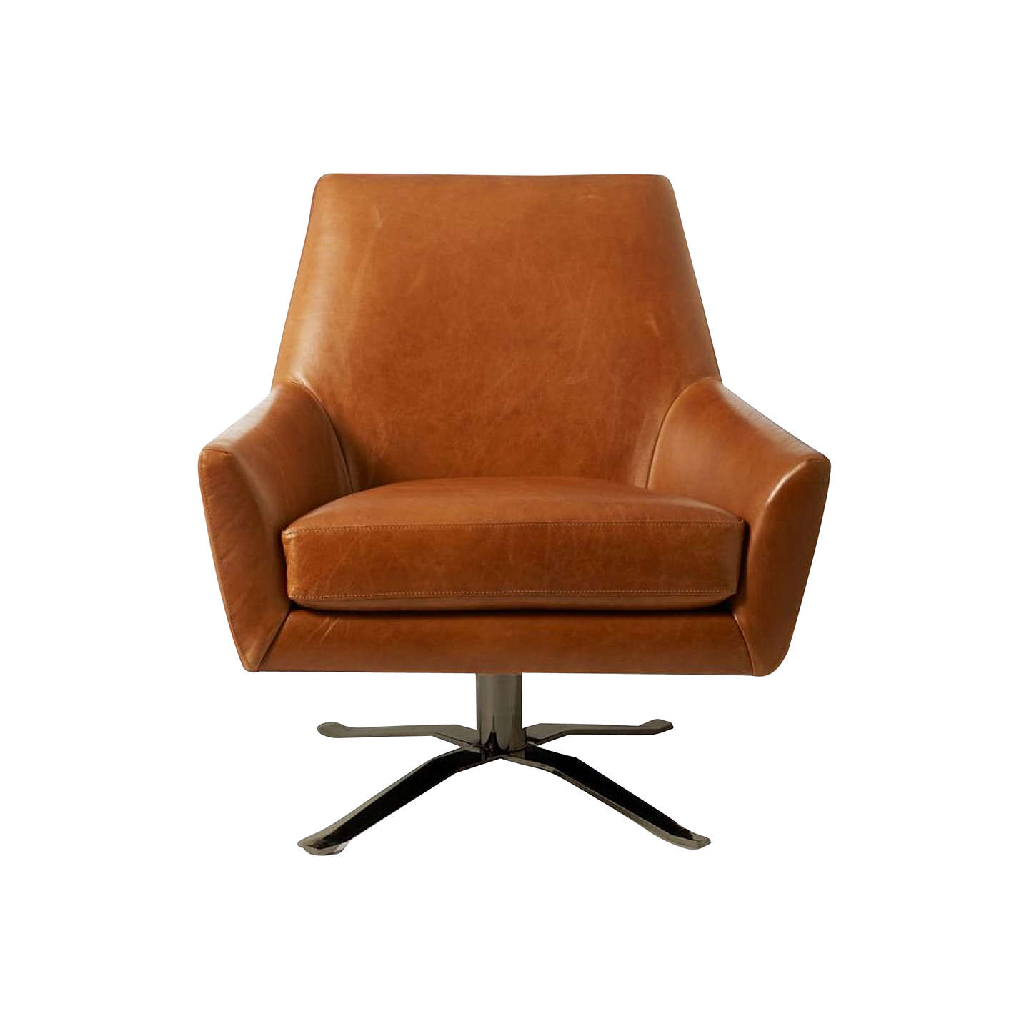 Buywest Elm Lucas Leather Swivel Chair, Saddle Leather Bronze Online At  Johnlewis.com ...