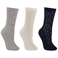Buy John Lewis Crochet Ankle Socks, Pack of 3, Navy/Grey Online at johnlewis.com