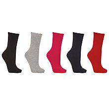 Buy John Lewis Cotton Blend Ankle Socks, Pack of 5, Multi Online at johnlewis.com