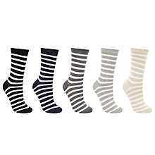 Buy John Lewis Stripe Cotton Blend Ankle Socks, Pack of 5, Multi Online at johnlewis.com