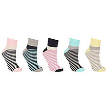 Buy John Lewis Stripe Trainer Socks, Pack of 5, Multi Online at johnlewis.com