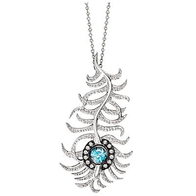 London Road 9ct White Gold Diamond and Zircon Portobello Peacock Feather Pendant Necklace, White Gol