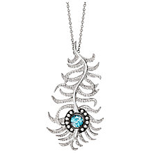 Buy London Road 9ct White Gold Diamond and Zircon Portobello Peacock Feather Pendant Necklace, White Gold Online at johnlewis.com