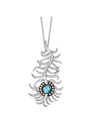 London Road 9ct White Gold Diamond and Zircon Portobello Peacock Feather Pendant Necklace, White Gold