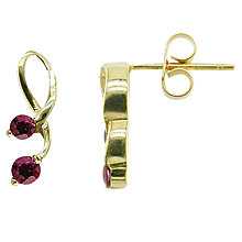 Buy EWA 9ct Yellow Gold Ruby Drop Earrings, Gold Online at johnlewis.com
