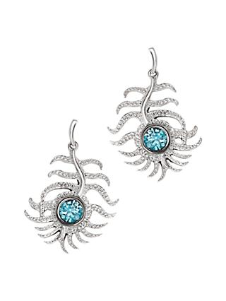 London Road 9ct White Gold Zircon Feather Drop Earrings, Blue