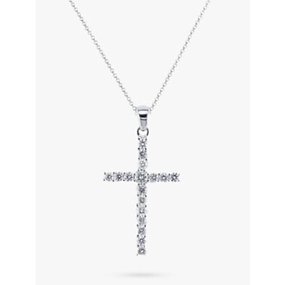 Image of EWA 18ct White Gold Diamond Cross Pendant Necklace