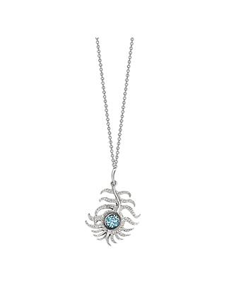 London Road 9ct White Gold Zircon Portobello Peacock Feather Pendant Necklace, White Gold