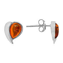 Buy Goldmajor Sterling Silver Amber Teardrop Stud Earrings, Orange Online at johnlewis.com