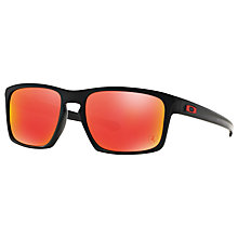Buy Oakley OO9262 Sliver Scuderia Ferrari Collection Rectangular Sunglasses, Black/Ruby Iridium Online at johnlewis.com