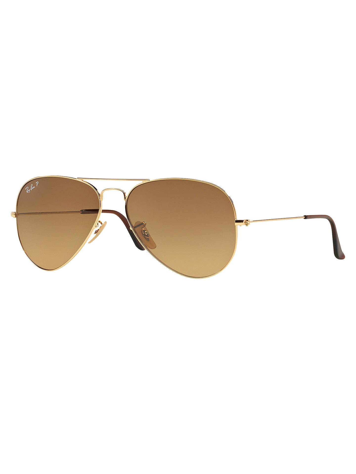 e7f948771 Buy Ray-Ban RB3025 Polarised Aviator Sunglasses, Shiny Gold/Brown Gradient  Online at ...