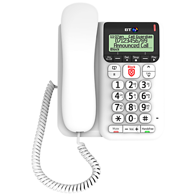 BT Décor 2600 Corded Telephone with Answering Machine & Nuisance Call Blocker, White