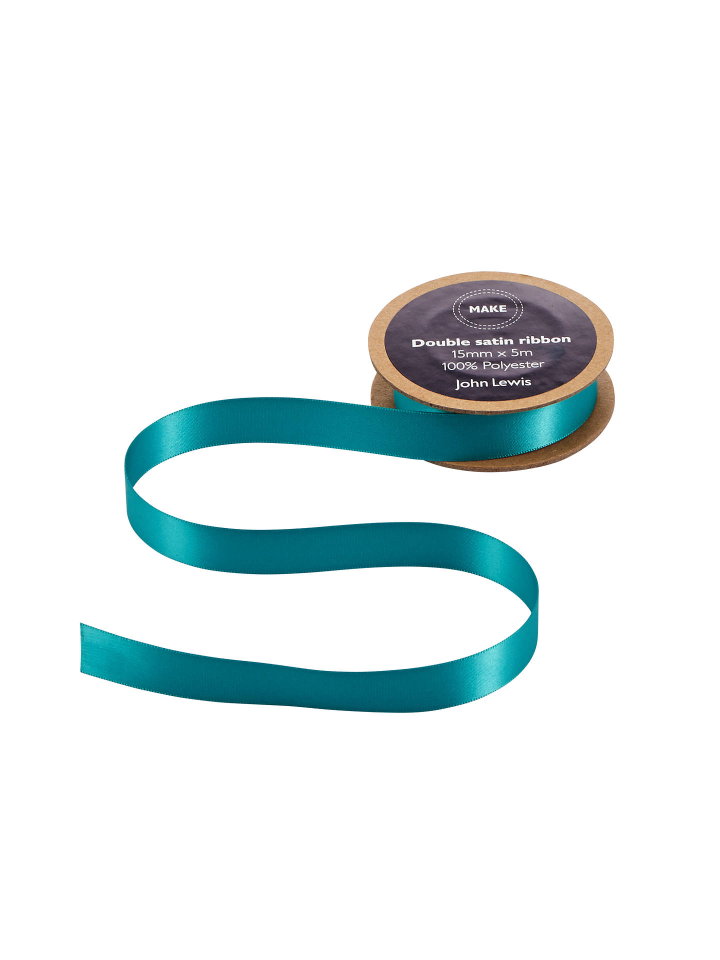 Buy John Lewis & Partners Double Satin Ribbon, 5m, Fathom Turquoise, 15mm Online at johnlewis.com