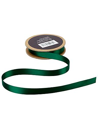 John Lewis & Partners Double Satin Ribbon, 5m, Bonsai Green