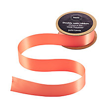 Buy John Lewis Double Satin Ribbon, 5m, Melba Peach Online at johnlewis.com