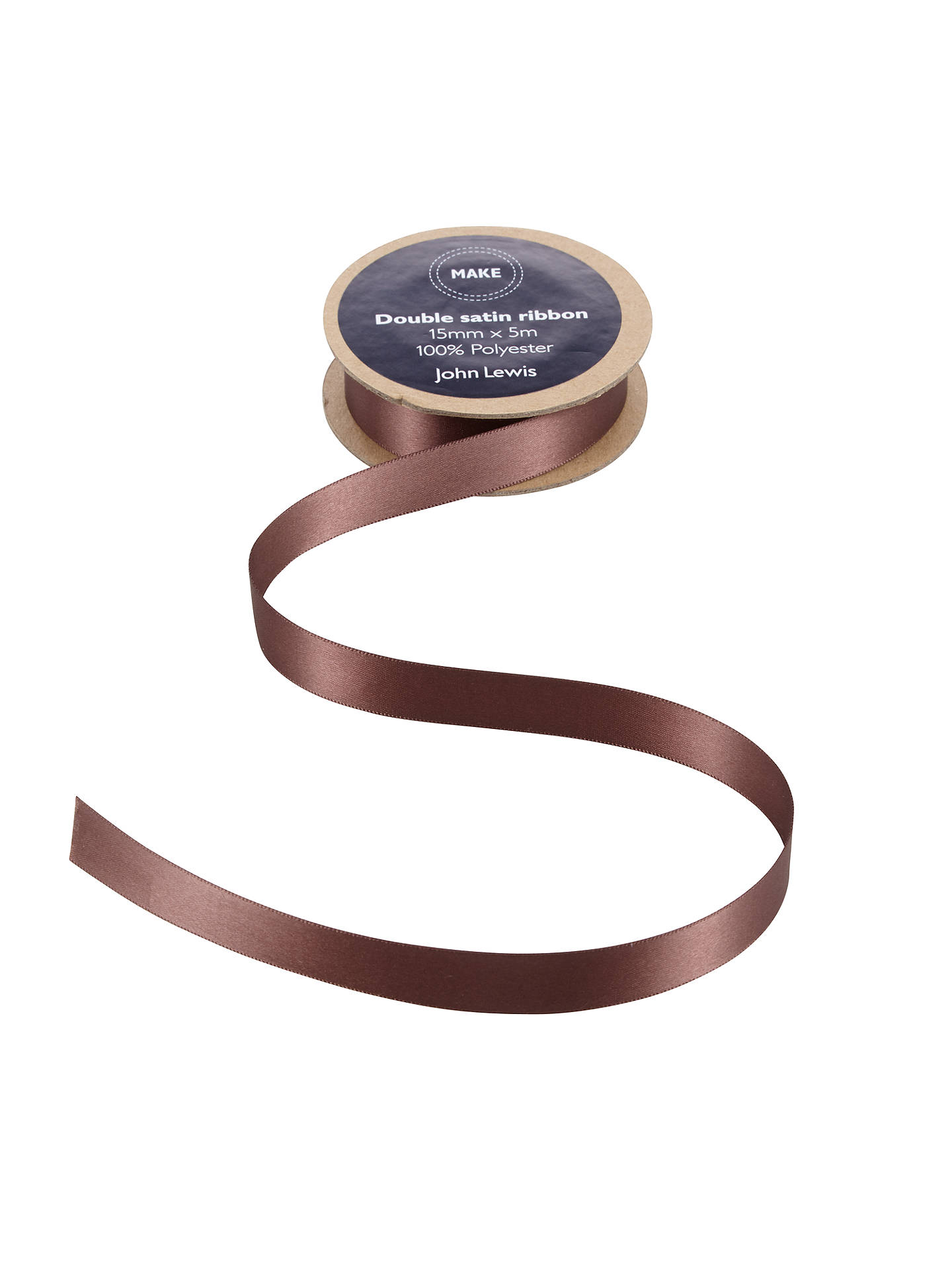 BuyJohn Lewis & Partners Double Satin Ribbon, 5m, Cocoa Brown, 15mm Online at johnlewis.com