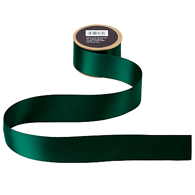 John Lewis Double Satin Ribbon, 5m, Bonsai Green